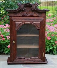 Antique French Large Oak Curio Glass Cabinet Vitrine Grandfather Clock Case 19C