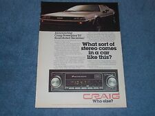 1978 Craig Powerplay Rs Audio Systems Vintage Ad with DeLorean DMC