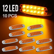 "New 10pcs 6.15""LED Marker Clearance Light 12LED Pigtail Connector Amber Trailer"