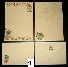 Decorative Autumn Owls Design Letter Writing Paper Stationery Set