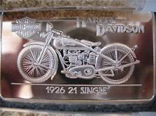 1.4 OZ.999 SILVER 1926 21 SINGLE 90TH ANNIV HARLEY BAR & ROUTE 66 1.OZ COIN+GOLD
