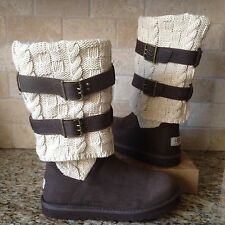 UGG Cassidee Tall Chocolate Leather / Knit/ Sheepskin Boots US 7 Womens