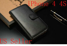 Black Genuine Luxury Real Leather Flip Wallet Case Stand Cover For iPhone 4 4S