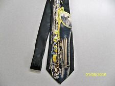 Saxophone, Sax, musical, music, concert, Jazz, Band, men's neck tie #2 New!!