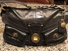 Coach  Legacy Turn lock Flap Leigh 11128 Satchel Handbag Black