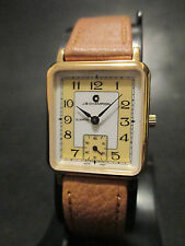 A22 NEW WOMEN'S JB CHAMPION Gold Dress Leather Band WATCH Square VINTAGE Dress