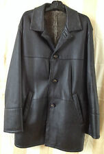 HIGH QUALITY FINEST LEATHER MADE IN ITALY SHEARLING LONG JACKET 54EU 44US -XL