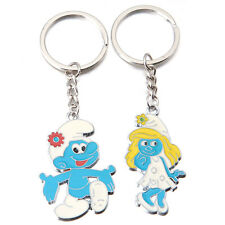 2pcs Enamel Smurfs Couple Zinc Alloy Pendant Keychain Keyring Fit Charms Gifts L