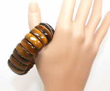 S013 Natural Yellow Gold Tiger Eye Gemstone Beads Stretchy Bracelet Bangle