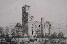 Lithographie Originale XIXème - Château de Thermes - Gers - Léo Drouyu