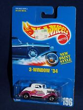 Hot Wheels Mid 90s Blue Card #196 3-Window '34 White & Purple w/ BWs