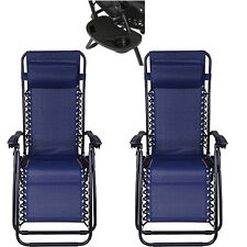 2 Outdoor Zero Gravity Lounge Chair Beach Patio Pool Yard Folding Recliner Blue