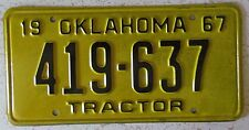 Oklahoma 1967 TRACTOR License Plate HIGH QUALITY # 419-637