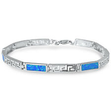 Greek Key Design Blue Opal .925 Sterling Silver Bracelet