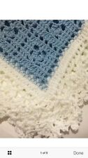 SOFT Crocheted Sweet Dreams Baby Blanket Afghan Light Blue And White