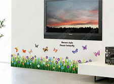 Butterflies Grass Flower Wall Stickers Decor Home Shop Mural Border Decal