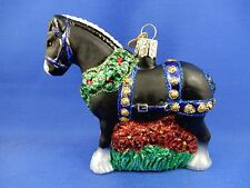 Black Clydesdale Horse Old World Christmas Ornament Glass Tree Animal NWT 12477