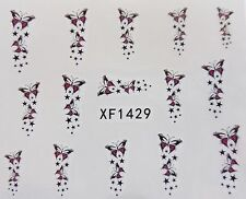 Nail Art Pink Black Butterfly Shooting Stars Water Transfer Decal Sticker 1429