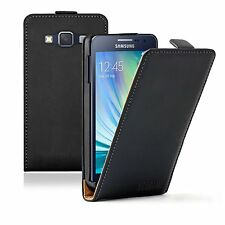 Ultra Slim BLACK Leather Case Cover Pouch For Mobile Phone Samsung Galaxy A3