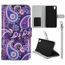 Wallet Purple Paisley For HTC Desire 626 626s Syn Leather Case Cover Flip Pouch