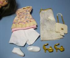 Barbie Sister modern SKIPPER Fashion Outfit Cloth/Shoe Lot-Gold/Ice Cream Dress