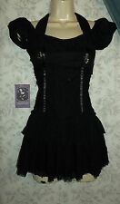 RARE LIP SERVICE LILIES & REMAINS MINI DRESS S BLACK  GOTH VICTORIAN STEAMPUNK