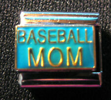 """Baseball Mom"" Modular Italian Charm - 9mm Size  --  Brand New-- Stainless Steel"