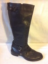 George. Black Knee High Leather Boots Size 38