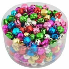 100 pcs Christmas Jingle Bells Pendants Colorful Iron Loose Beads 8x6mm