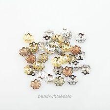 500Pcs Silver Tone Metal Flower Shaped Bead Caps End Caps 6mm