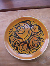 Poole Pottery Plate 25.5 cm across.  Aegean 4 A initialed CH. Black Back Stamp.