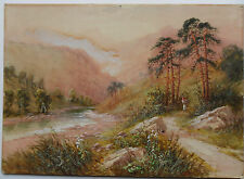 FRANK HIDER 1861-1933 ORIGINAL SIGNED PAINTING 'MOUNTAIN VIEW WITH RIVER 1915'