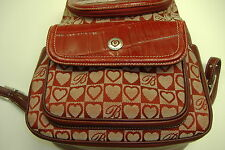 Brighton red leather canvas fabric signature print backpack EUC