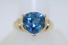 10k Yellow Gold 7.0ct Antique Trillion Cut Swiss Blue Topaz Ring Size 10