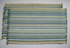 NEWPORT Blue, Green, Beige, White Beach Cottage Cotton Placemats Set of 2
