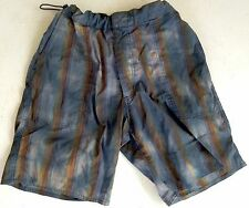 SAUVAGE California Swim Trunks Surf Shorts Size 34 Blue Brown Mens Unlined USA