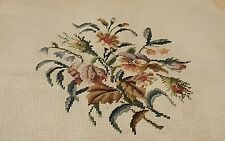 Vintage Completed Needlepoint Floral Piece for Framing chair cover repurpose