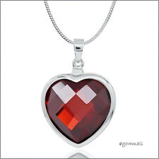 925 Sterling Silver Large Garnet Red CZ Heart Pendant 22.5mm #65500