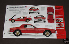 1986-1988 ZIMMER QUICKSILVER Car SPEC SHEET BROCHURE PHOTO BOOKLET