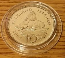 Falkland Islands 10p South American Sea Lion BU Coin 2004 in Protective Capsule