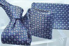 Brioni Mens Blue Tie Purple 100% Silk Geometric Pattern Print Neckwear NWT