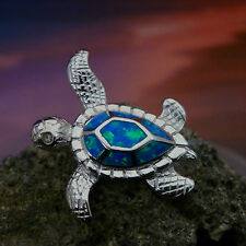 STERLING SILVER BEAUTIFUL HIGH POLISHED SEA TURTLE BLUE  OPAL SLIDE PENDANT