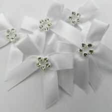 5 x satin diamante bows pink ivory white or red 40mm x 30mm 10mm ribbon