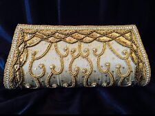 Grey Bronze Gold Handbag Clutch Wallet Bollywood Indian Dress Purse Art Silk