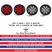"4"" Inch 12 LED Round Stop/Backup/Reverse Truck Tail Light Kit - 2 Red + 2 White"