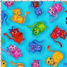 Cuarto gordo Cool Cats Toss 100% Algodón Acolchado Tela caprichoso Gatos Azul