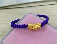 Hot Sale Authentic 24K Yellow Gold Knitted Bracelet Purple Line With Lucky Pixiu