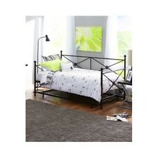Daybed With Trundle Twin Sofa Metal Antique Black Guest Bed Frame Dorm Roll-Out