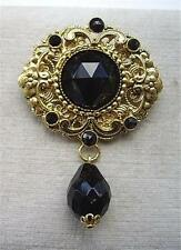 Stunning Vintage Black Glass Czech Filigree Drop Brooch