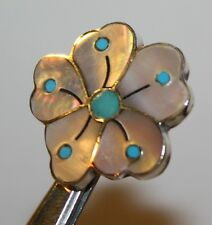 HAND SIGNED SONNY WALLACE ZUNI NM '92 STERLING SILVER 925 DESERT ROSE BROOCH PIN